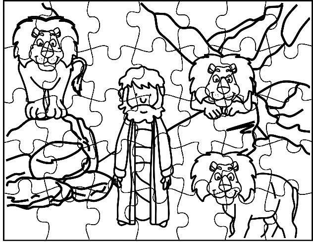 kleurplaat en puzzel daniel in de leeuwenkuil de